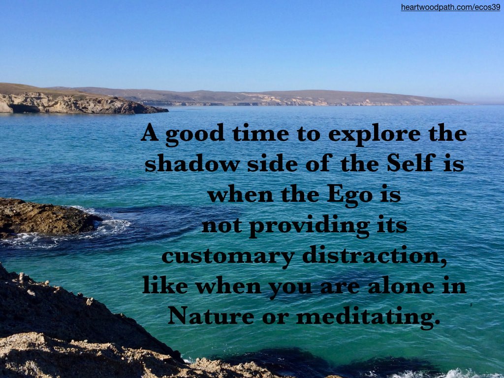 Picture clear blue ocean cove quote A good time to explore the shadow side of the Self is when the Ego is not providing its customary distraction, like when you are alone in Nature or meditating