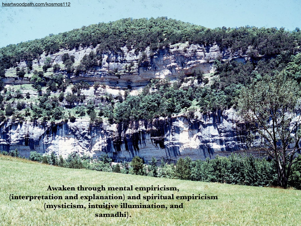 Picture rock formation trees quote Awaken through mental empiricism, (interpretation and explanation) and spiritual empiricism (mysticism, intuitive illumination, and samadhi)