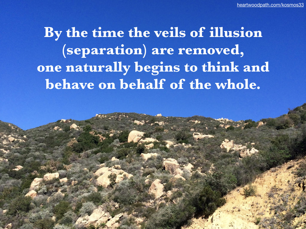 picture of rocky hills and quote By the time the veils of illusion (separation) are removed, one naturally begins to think and behave on behalf of the whole.