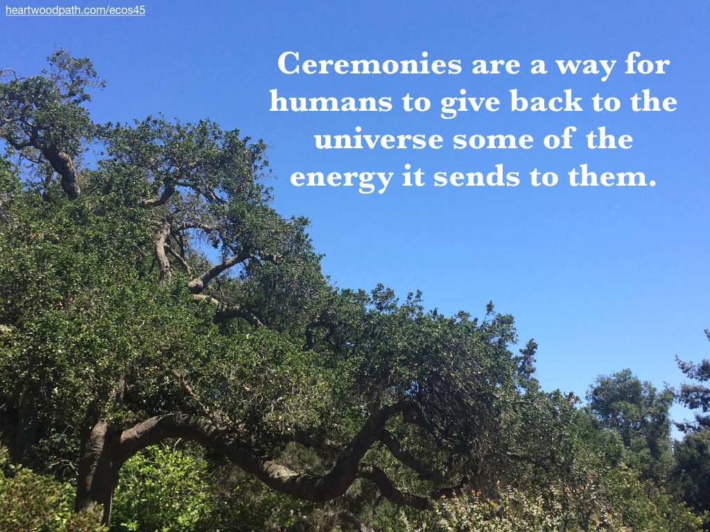 Picture oak trees quote Ceremonies are a way for humans to give back to the universe some of the energy it sends to them