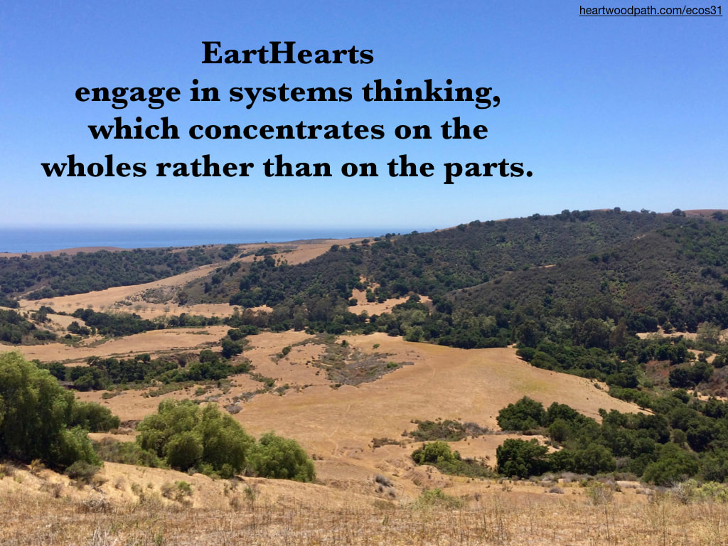 Picture yellow grasses green shrubs rolling hills ocean quote EartHearts engage in systems thinking, which concentrates on the wholes rather than on the parts