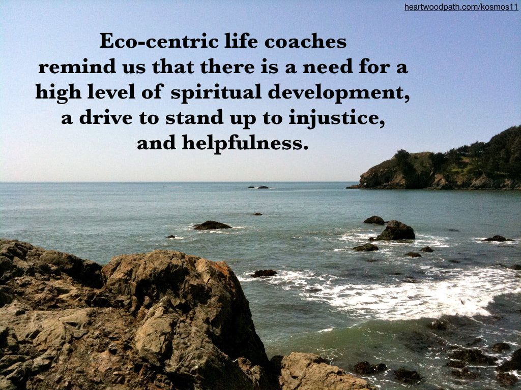 picture of rocky coast and words reading Eco-centric life coaches remind us that there is a need for a high level of spiritual development, a drive to stand up to injustice, and helpfulness