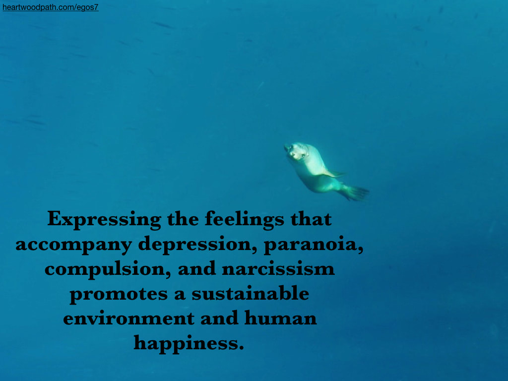 Picture sea lion quote Expressing the feelings that accompany depression, paranoia, compulsion, and narcissism promotes a sustainable environment and human happiness