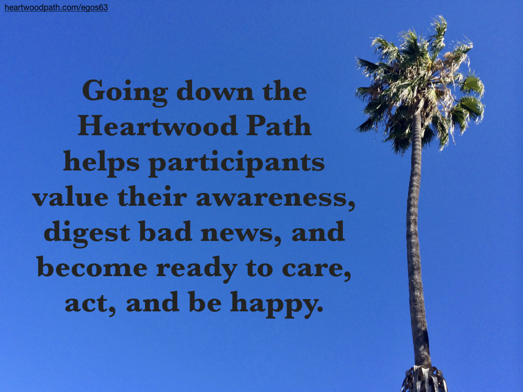 Picture blue sky palm tree quote Going down the Heartwood Path helps participants value their awareness, digest bad news, and become ready to care, act, and be happy