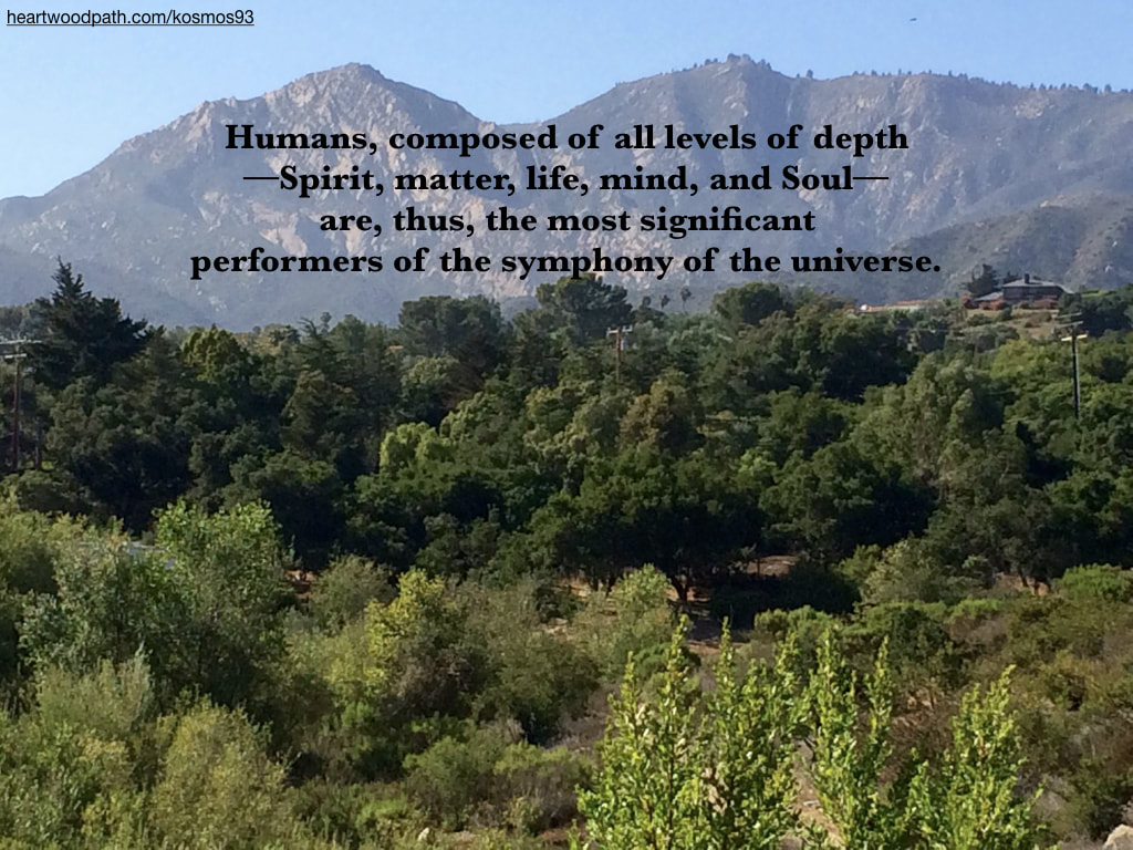 Picture forest mountain with quote Humans, composed of all levels of depth––Spirit, matter, life, mind, and Soul––are, thus, the most significant performers of the symphony of the universe.