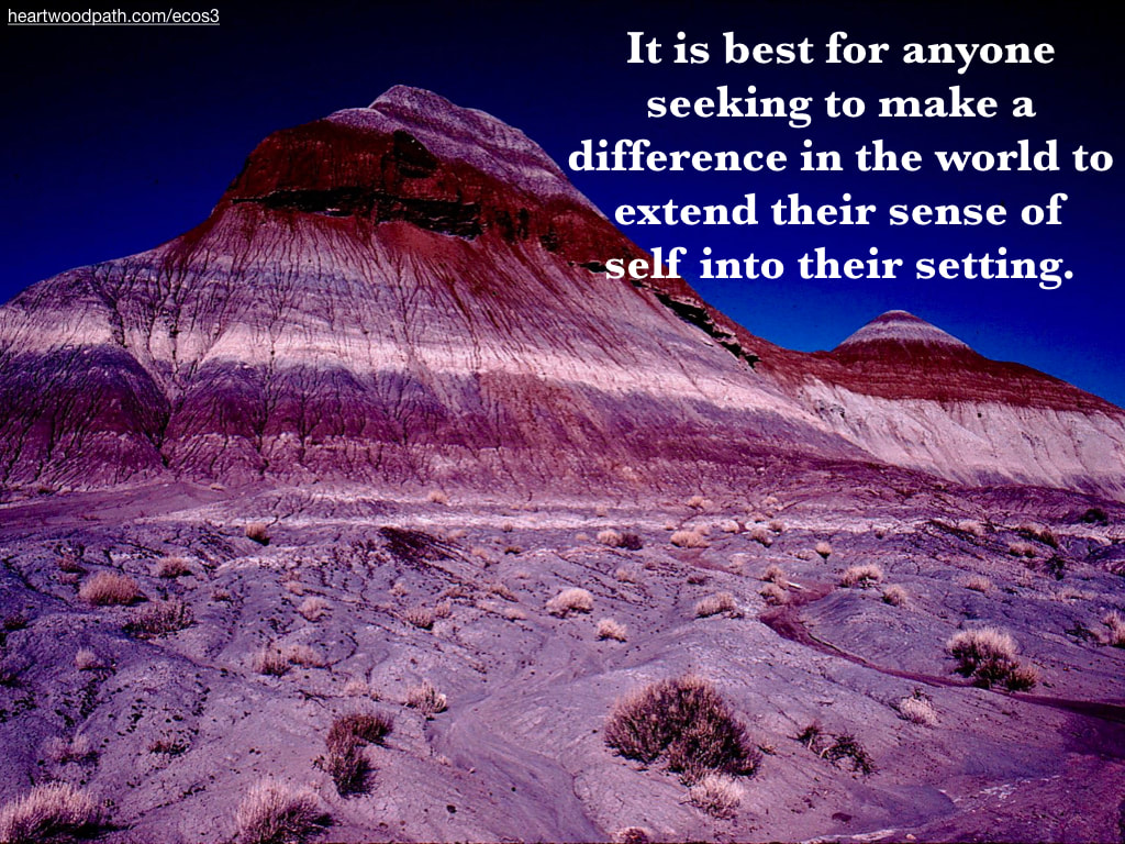 Picture layered rock mountain quote It is best for anyone seeking to make a difference in the world to extend their sense of self into their setting