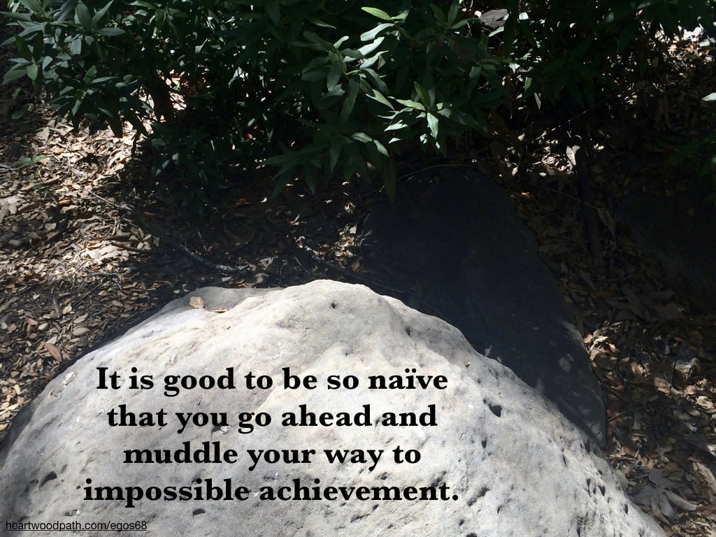 Picture boulder forest quote It is good to be so naïve that you go ahead and muddle your way to impossible achievement