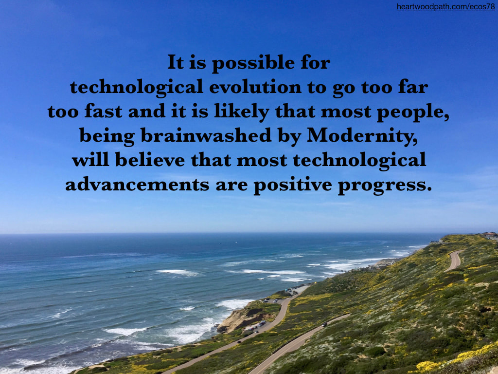 Picture green coast with yellow flowers waves ocean quote It is possible for technological evolution to go too far too fast and it is likely that most people, being brainwashed by Modernity, will believe that most technological advancements are positive progress