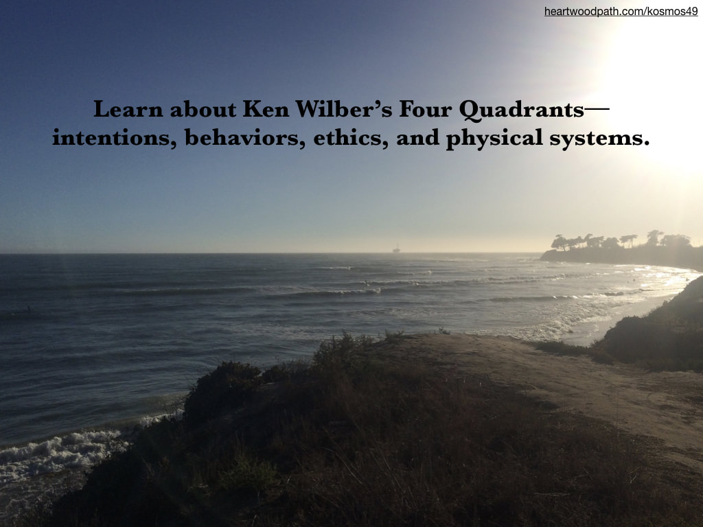 picture ocean cove with waves and trees and quote - Learn about Ken Wilber's Four Quadrants--intentions, behaviors, ethics, and physical systems