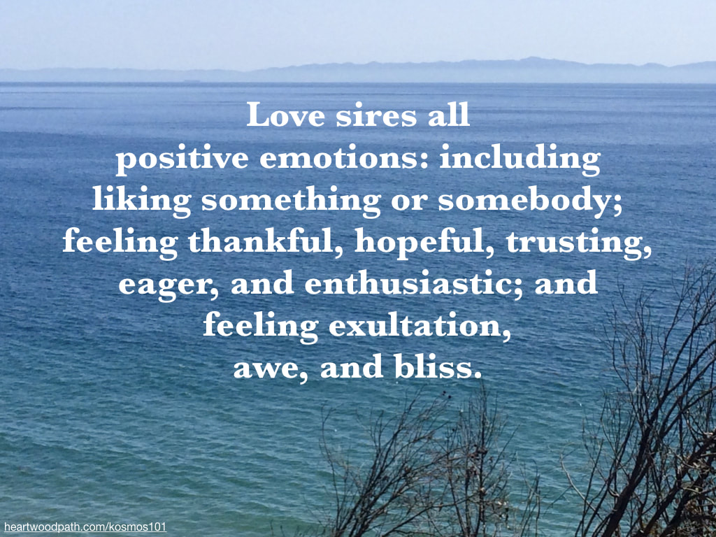 Love sires all positive emotions: including liking something or somebody; feeling thankful, hopeful, trusting, eager, and enthusiastic; and feeling exultation, awe, and bliss