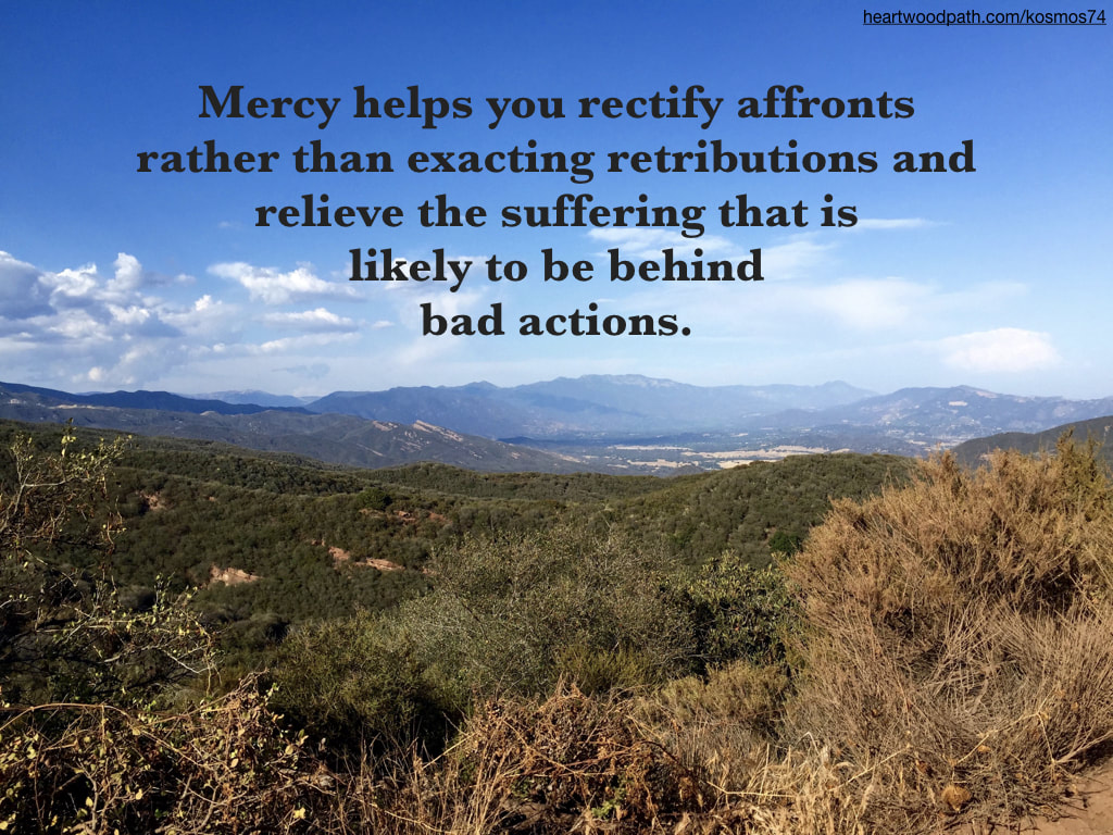 Picture mountains with quote - Mercy helps you rectify affronts rather than exacting retributions and relieve the suffering that is likely to be behind bad actions