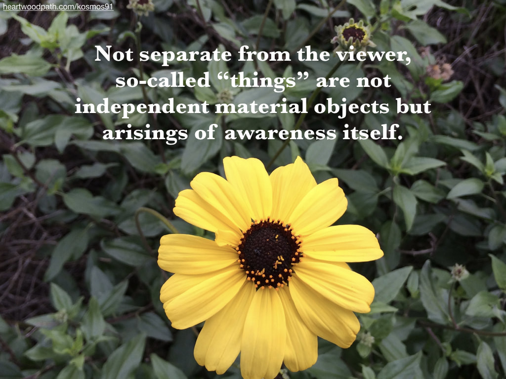 "Picture yellow flower with leaves and words Not separate from the viewer, so-called ""things"" are not independent material objects but arisings of awareness itself"