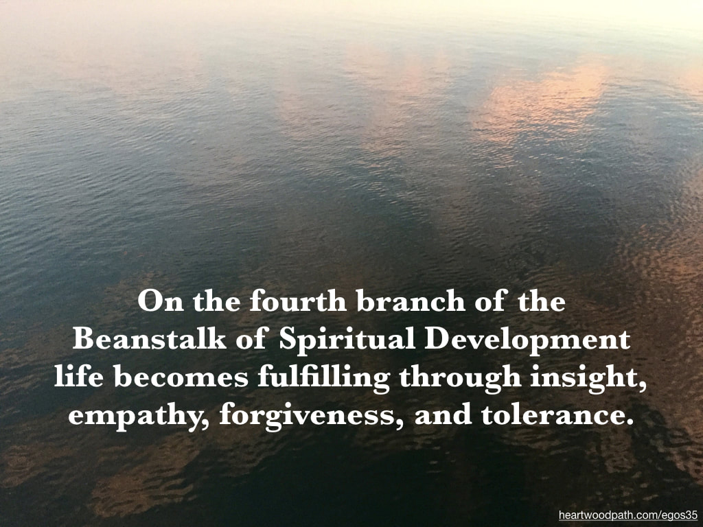 Picture reflection ocean quote On the fourth branch of the Beanstalk of Spiritual Development life becomes fulfilling through insight, empathy, forgiveness, and tolerance