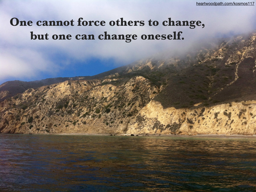 Picture island quote One cannot force others to change, but one can change oneself