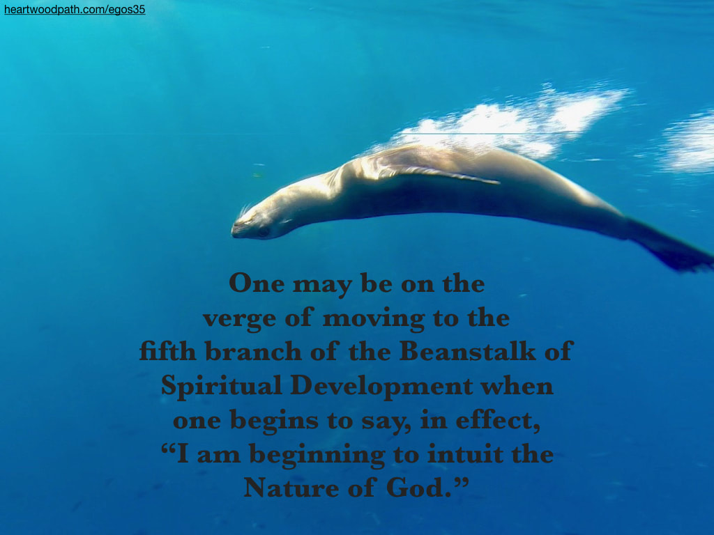 "Picture sea lion quote One may be on the verge of moving to the fifth branch of the Beanstalk of Spiritual Development when one begins to say, in effect, ""I am beginning to intuit the Nature of God."""