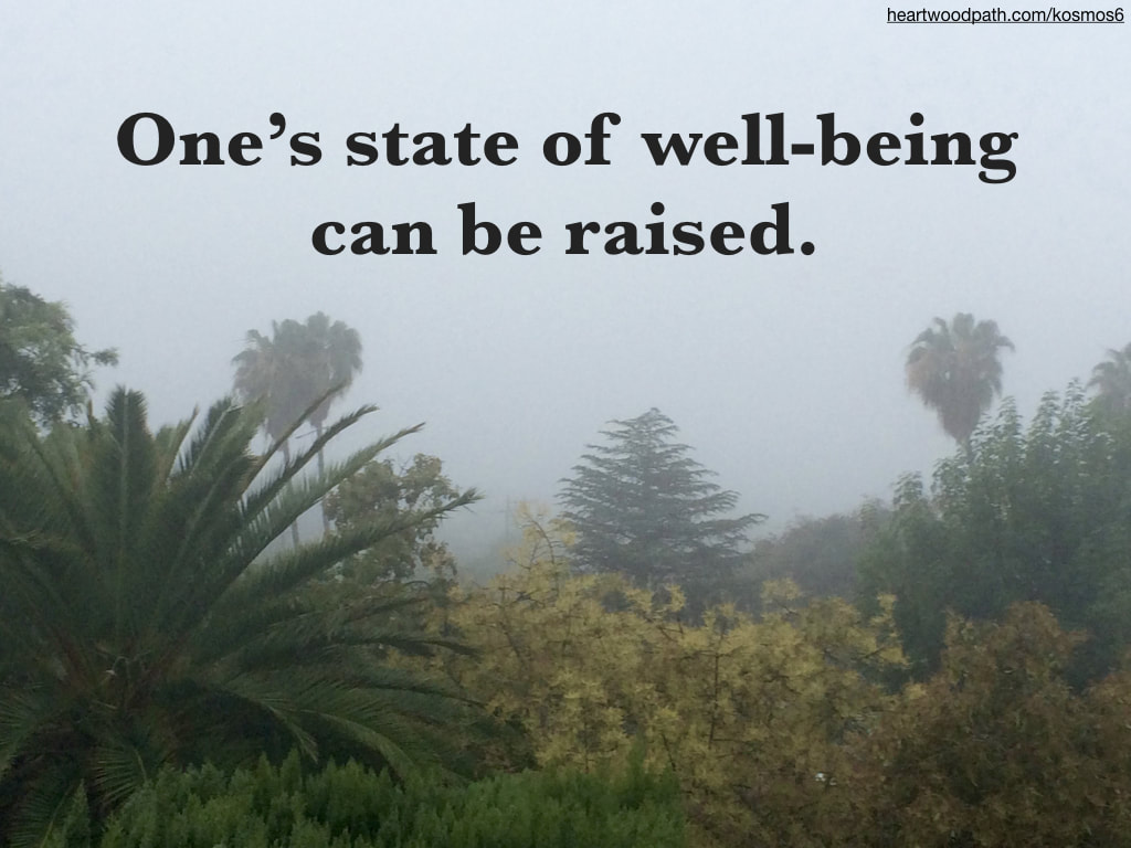 picture of fog with quote that reads One's state of well-being can be raised