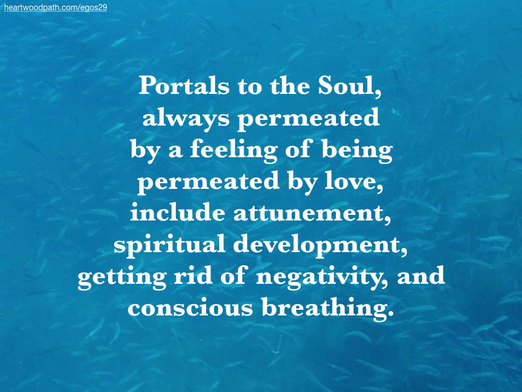 Picture school fish underwater quote Portals to the Soul, always permeated by a feeling of being permeated by love, include attunement, spiritual development, getting rid of negativity, and conscious breathing