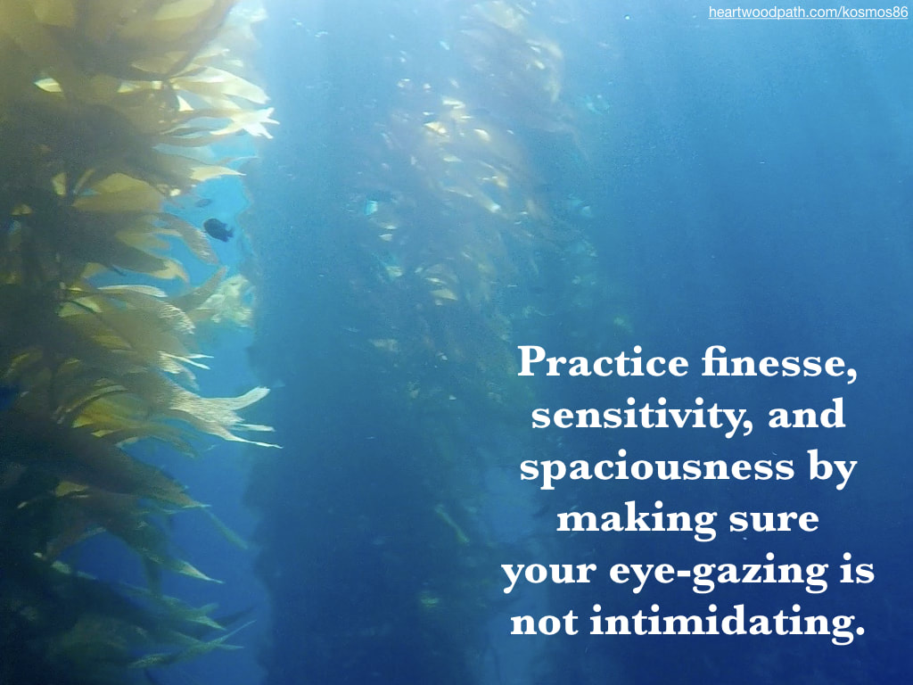 Picture underwater seaweed with quote Practice finesse, sensitivity, and spaciousness by making sure your eye-gazing is not intimidating