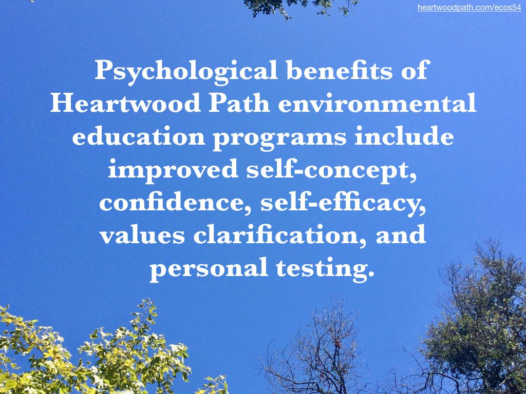Picture trees blue sky quote Psychological benefits of Heartwood Path environmental education programs include improved self-concept, confidence, self-efficacy, values clarification, and personal testing
