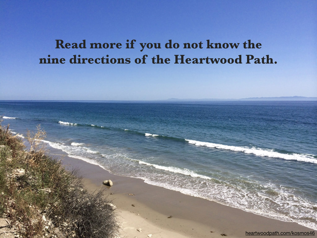 Picture ocean and words on sky - Read more if you do not know the nine directions of the Heartwood Path