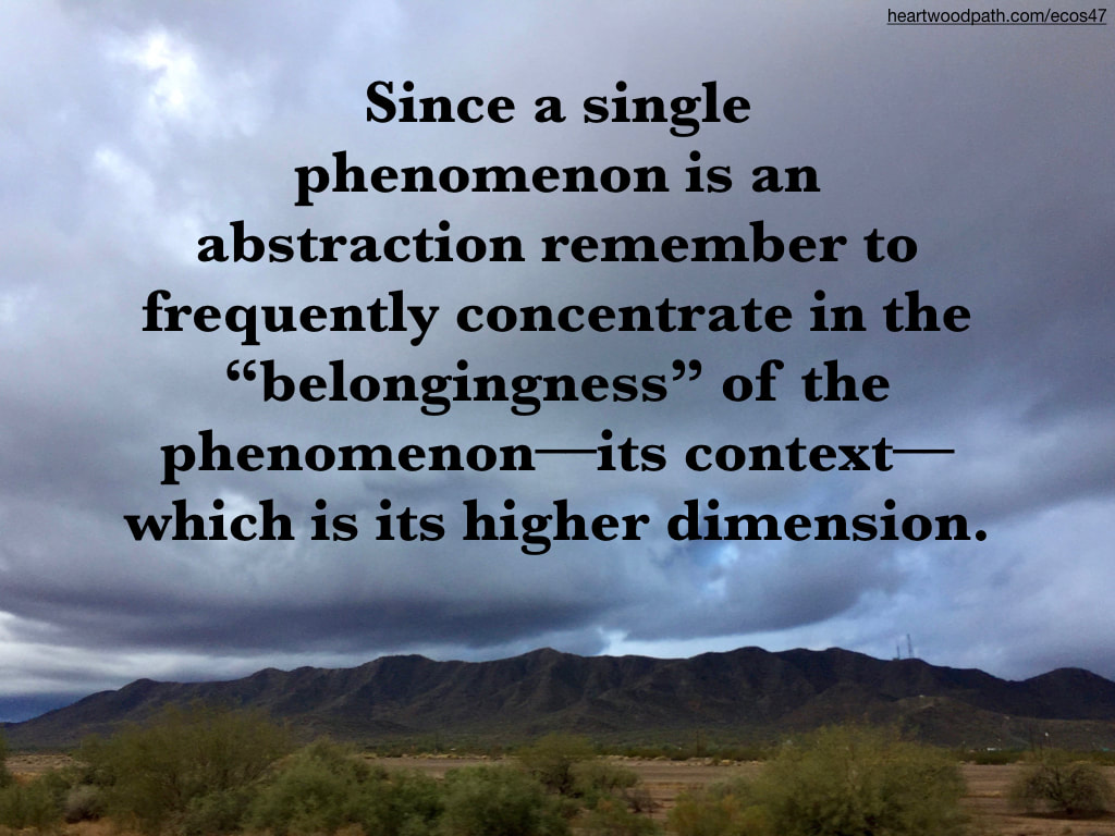 "Picture storm clouds over mountain green bushes quote Since a single phenomenon is an abstraction remember to frequently concentrate in the ""belongingness"" of the phenomenon––its context––which is its higher dimension"