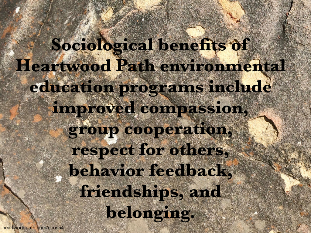 Picture design on boulder quote Sociological benefits of Heartwood Path environmental education programs include improved compassion, group cooperation, respect for others, behavior feedback, friendships, and belonging