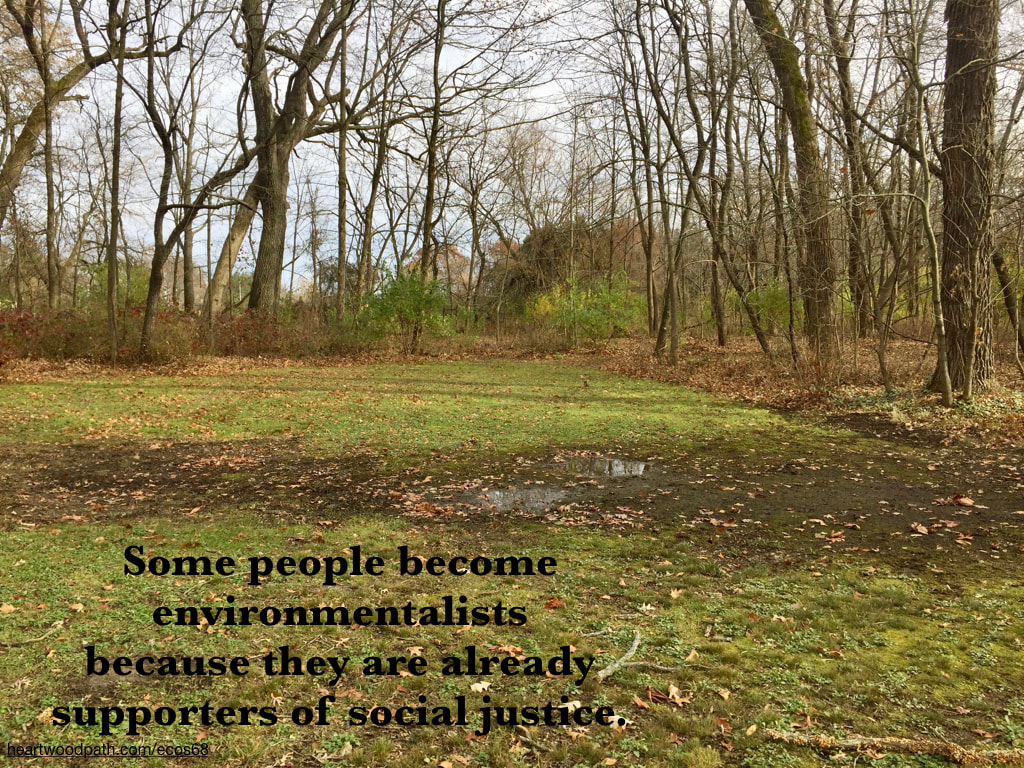 Picture woods grass quote Some people become environmentalists because they are already supporters of social justice