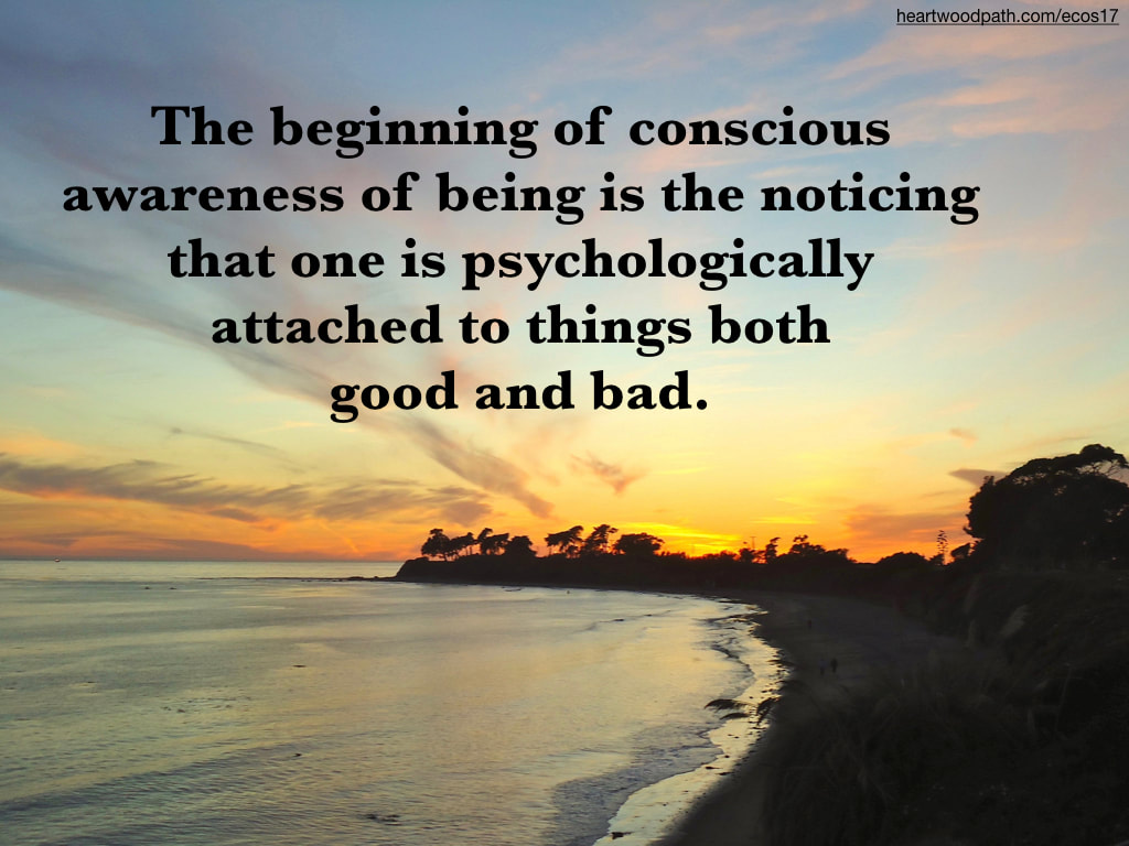 Picture orange sunset quote The beginning of conscious awareness of being is the noticing that one is psychologically attached to things both good and bad