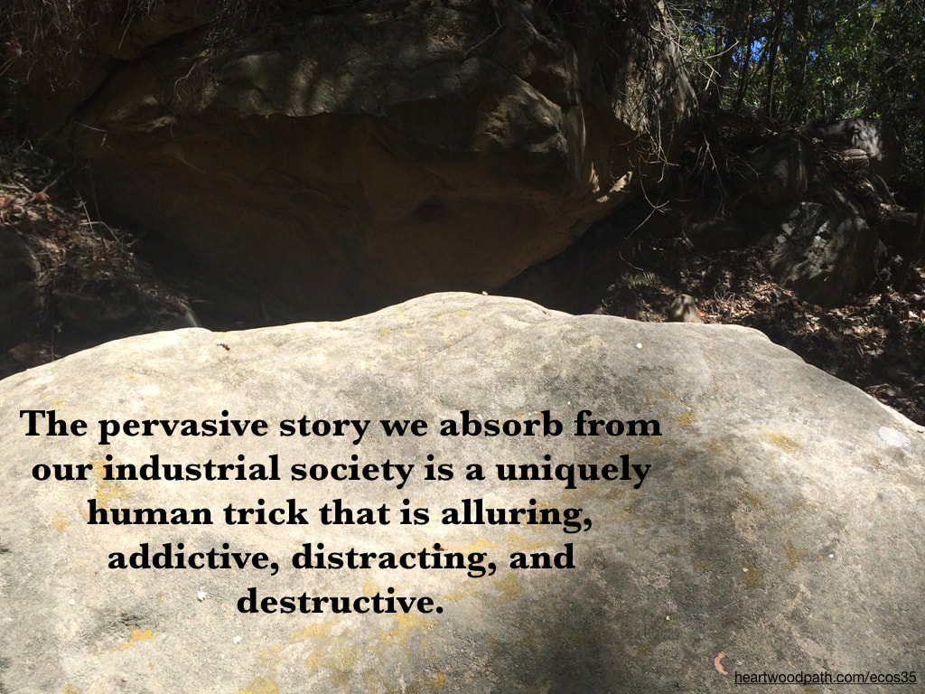Picture boulder quote The pervasive story we absorb from our industrial society is a uniquely human trick that is alluring, addictive, distracting, and destructive