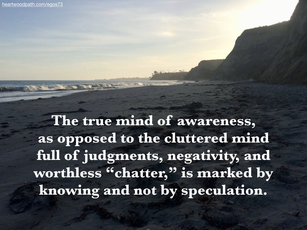 "Picture beach quote The true mind of awareness, as opposed to the cluttered mind full of judgments, negativity, and worthless ""chatter,"" is marked by knowing and not by speculation"