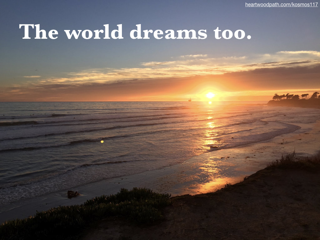 Picture sunset from cliffs quote The world dreams too