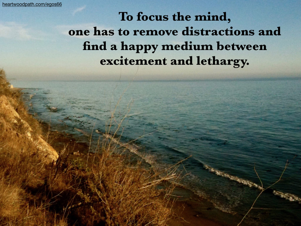 Picture ocean coastline quote To focus the mind, one has to remove distractions and find a happy medium between excitement and lethargy