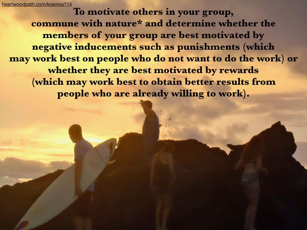 Picture connecting with nature ecopsychology activity To motivate others in your group, commune with nature* and determine whether the members of your group are best motivated by negative inducements such as punishments (which may work best on people who do not want to do the work) or whether they are best motivated by rewards (which may work best to obtain better results from people who are already willing to work).