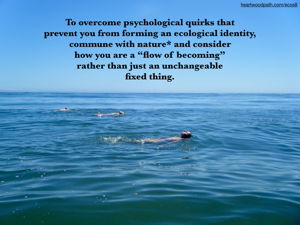 "Picture connecting with nature ecopsychology activity To overcome psychological quirks that prevent you from forming an ecological identity, commune with nature* and consider how you are a ""flow of becoming"" rather than just an unchangeable fixed thing"