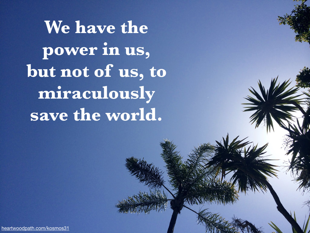 Picture palm trees and words We have the power in us, but not of us, to miraculously save the world
