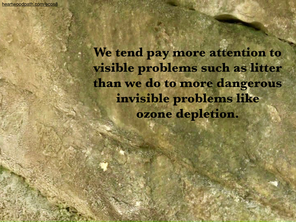 Picture rock texture quote We tend pay more attention to visible problems such as litter than we do to more dangerous invisible problems like ozone depletion
