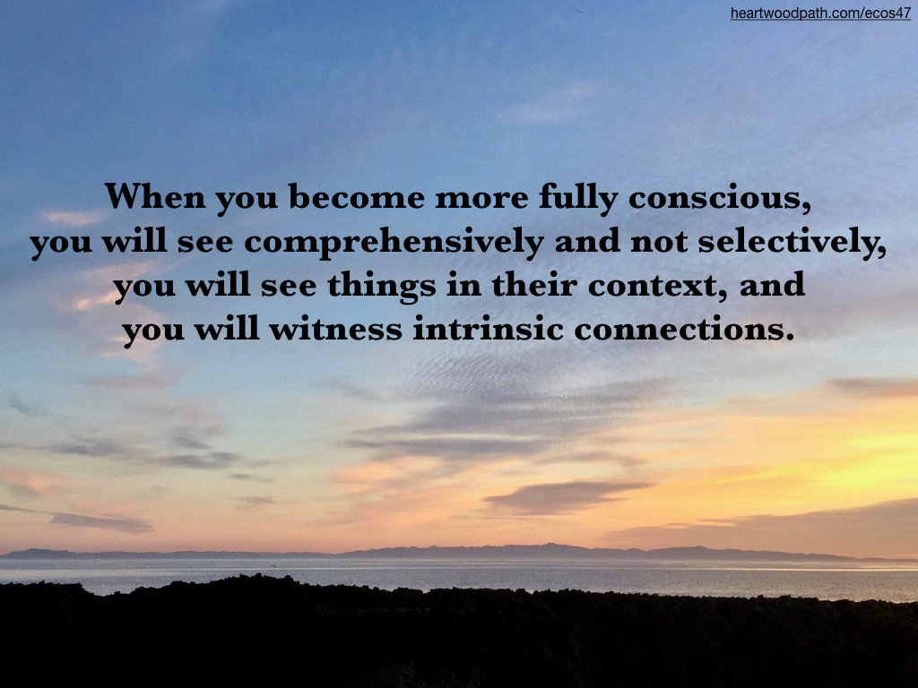 Picture sunset over ocean island quote When you become more fully conscious, you will see comprehensively and not selectively, you will see things in their context, and you will witness intrinsic connections