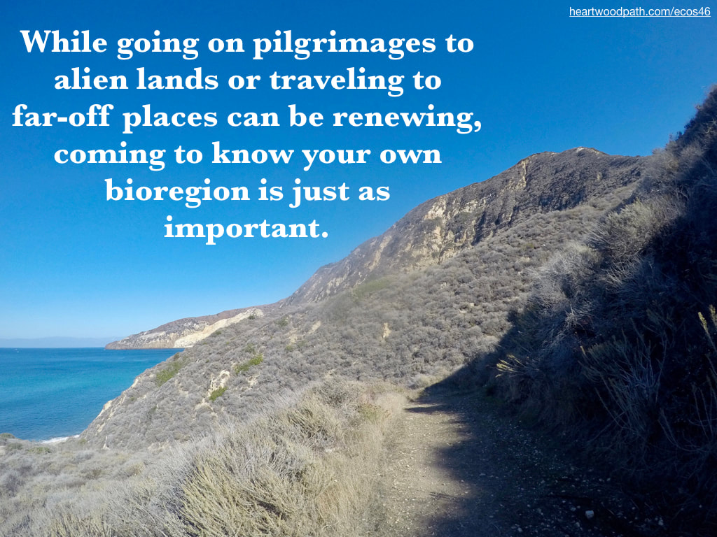 Picture coastal trail over ocean island quote While going on pilgrimages to alien lands or traveling to far-off places can be renewing, coming to know your own bioregion is just as important